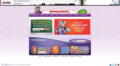 Chuck E. Cheese website 2011