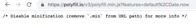 Screenshot of response from polyfill.io service for Chrome - no polyfill was required