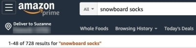 Amazon search snowboard socks