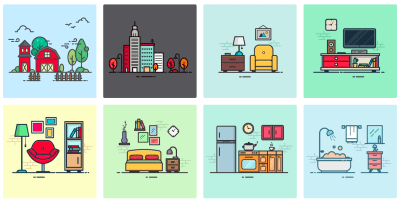 A screenshot of open-source illustrations available