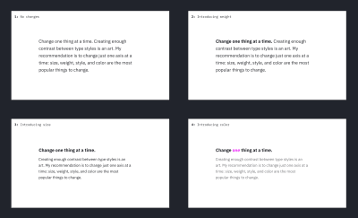 "A grid of four visual explorations of the ""Change one thing at a time"" text. In each iteration, only one visual axis changes"