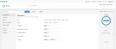 Google Analytics Segments - Segment Options