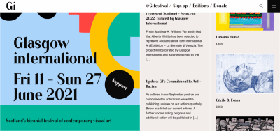 the Glasgow International festival website