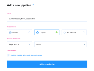 Tutorial step 2: Creating a new pipeline