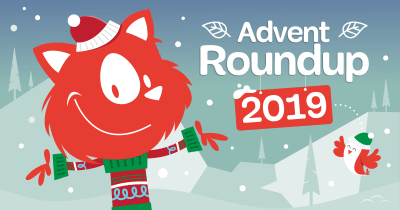 An illustration that says 'Advent Roundup 2019' with the Smashing Cat on the left wearing a colorful Christmas sweater and a red stocking cap, while on the left flies a happy-looking birdie wearing a green stocking cap