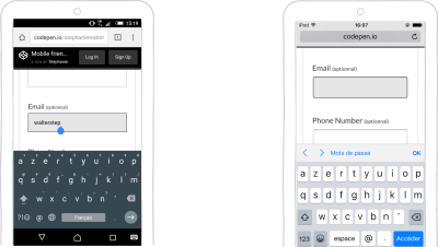 input type=email keyboard on Android and iOS