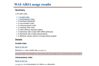 WAI-ARIA bookmarklet results page.
