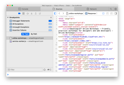 Debugging a mobile web page with Safari Inspector