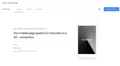 Test My Site report for Tempus
