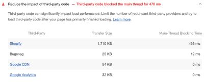 A table comparing transfer size and main-thread blocking time between four third parties: Shopify, Bugsnag, Google CDN and Google Analytics