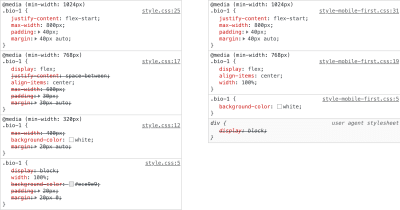 Before and after screenshot of how the generic first CSS approach affects chrome dev tools style panel.