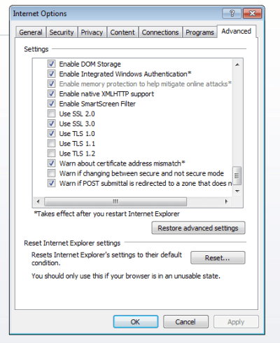 Screenshot of settings panel