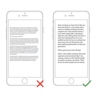 Left: The text is too small to read on a small device without pinching and zooming. Right: The text is comfortable to read on a mobile screen.