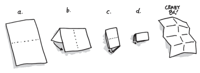 Illustration of a piece of paper being folded into eight quadrants to allow for the crazy 8s rapid iteration sketch