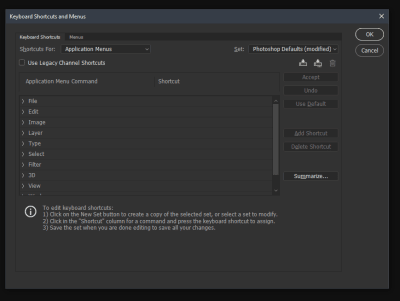 Keyboard Shortcuts and Menus option open, displaying the shortcuts for the Applications menu