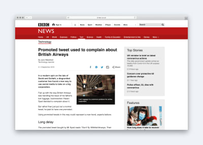 BBC headline: Promoted tweet used to complain about British Airways