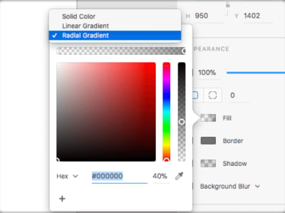 using a gradient from menu