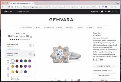 Gemvara's ring configurator
