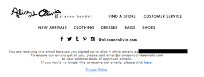 Alice and Olivia's email footer is concise and designed with all good practices in mind.