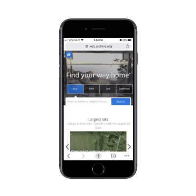 internet marketing Zillow mobile homepage in 2017