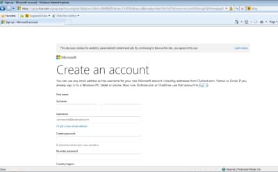 Screenshot of signup page for MSN