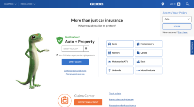 GEICO website 2020 - gecko