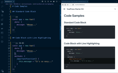 An example of how code block samples render in VuePress