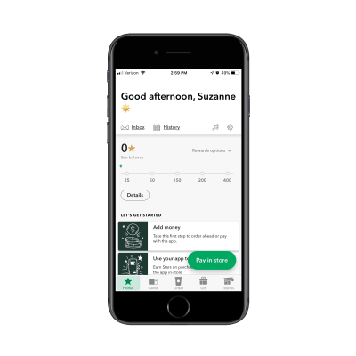 Starbucks loyalty mobile app