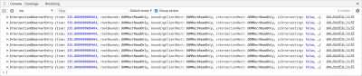Screenshot of DevTools with IntersectionObserver being fired for all elements at once.