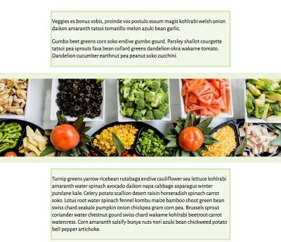 A single column layout, with a full width image, background colour behind the content areas