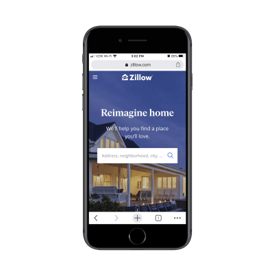 internet marketing Zillow homepage on mobile