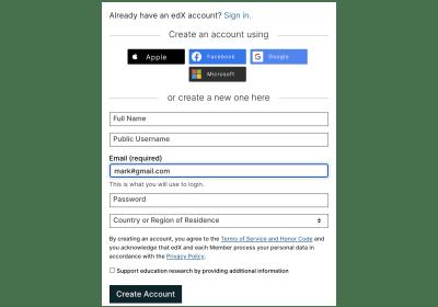 Creating an edX account