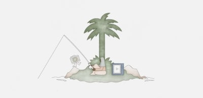 An illustration of a woman gone fishing on a deserted island. She's surrounded by a camera and a video app icon