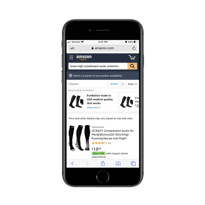 Amazon mobile search results with sponsored products