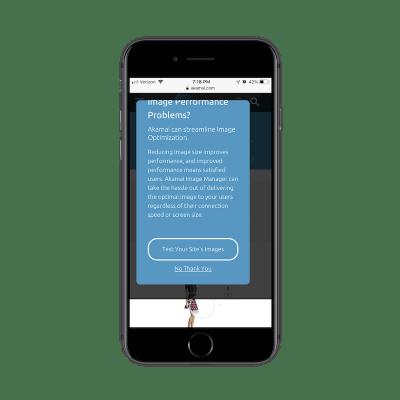 A very long mobile pop-up on Akamai site