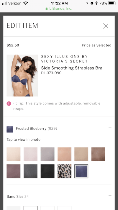 Victoria's Secret edit lightbox in checkout