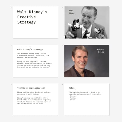 Slide examples for conducting a rainstorming workshop according to Walt Disney's Strategy