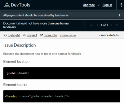 Axe DevTools showing details of a 'Document should not have more than one banner landmark error' with code snippets.