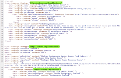 Schema markup found for Henlopen City Oyster House home page.