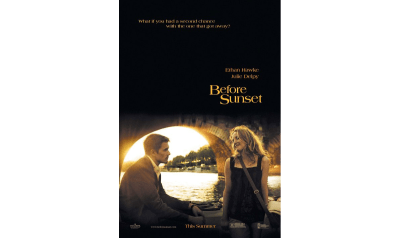 The Before Sunset movie poster features Paris in the background