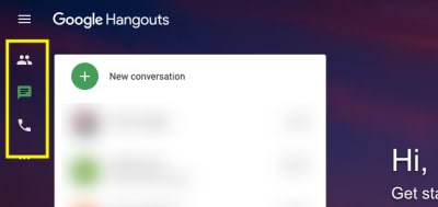 Google Hangouts primary navigation design - icons only