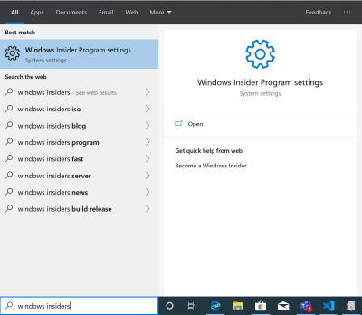 Windows Insider Program settings menu option