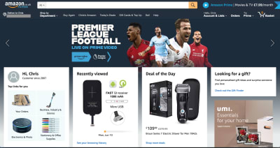 screenshot of Amazon homepage