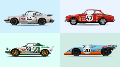 More car illustrations for your inspiration — these are some of other racing cars that I've been creating in Sketch recently.