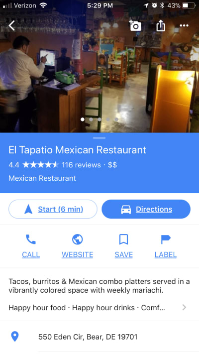 Google Maps' contrasting CTAs.
