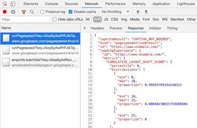 Developer Tools Screenshot showing XHR request with JSON response.