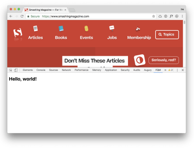 "A new panel in browser DevTools showing the ""Hello, World"" text"