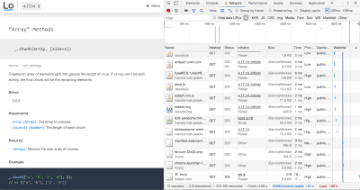 Screenshot of devtools showing 'ServiceWorker' next to each request