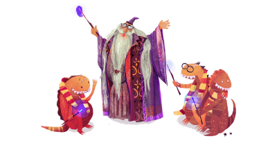 Illustration of a wizard and three little dragons who seem to be learning something from him