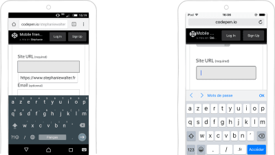 input type=url keyboard on Android and iOS